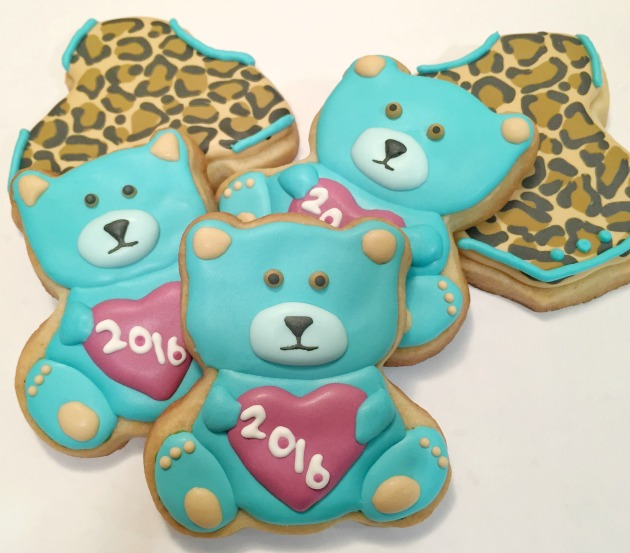 Teddy Bear and Onesie Pregnancy Announcement Cookies
